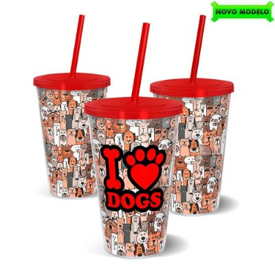 Copo Canudo Parede Dupla 500ml I Love Dogs - Beek