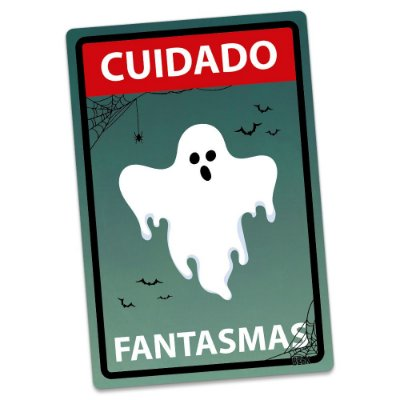 Placa Decorativa 24x16 HALLOWEEN Cuidado Fantasmas - Beek