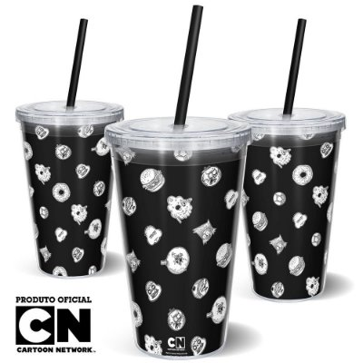 Copo Canudo 600ml Cartoon Network OFF Mix 1
