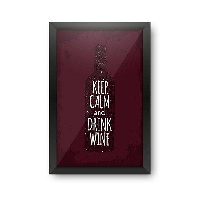 Quadro Porta Rolhas de Vinho KEEP CALM AND DRINK WINE
