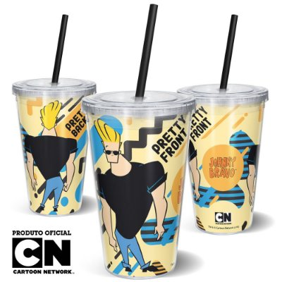 Copo Canudo 600ml Cartoon Network JOHNNY BRAVO PRETTY - Beek