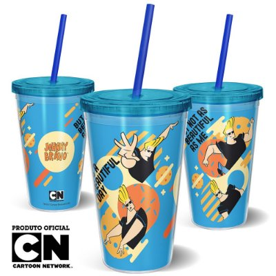 Copo Canudo 600ml Cartoon Network JOHNNY BRAVO BEAUTIFUL - Beek