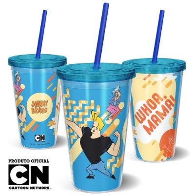 Copo Canudo 600ml Cartoon Network JOHNNY BRAVO MAMA - Beek