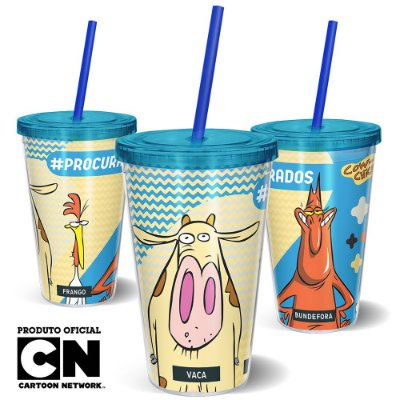 Copo Canudo 600ml Cartoon Network Vaca e o Frango PROCURADOS - Beek