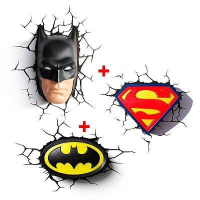 Conjunto Luminárias ROSTO BATMAN e LOGOS BATMAN e SUPERMAN