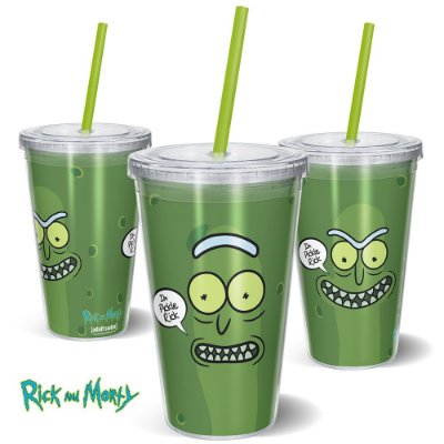 Copo Canudo 600ml Pickle Rosto RICK AND MORTY Oficial - Beek