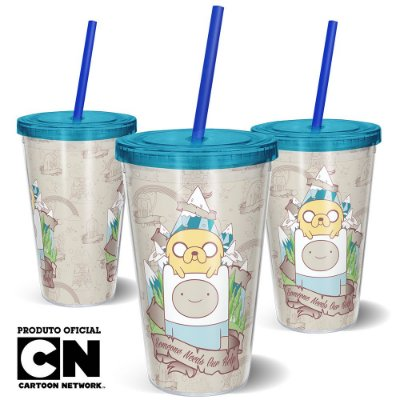 Copo Canudo 600ml Cartoon Network HORA DE AVENTURA Finn - Beek