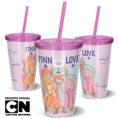 Copo Canudo 600ml CARTOON NETWORK - Hora da Aventura FINN LOVE