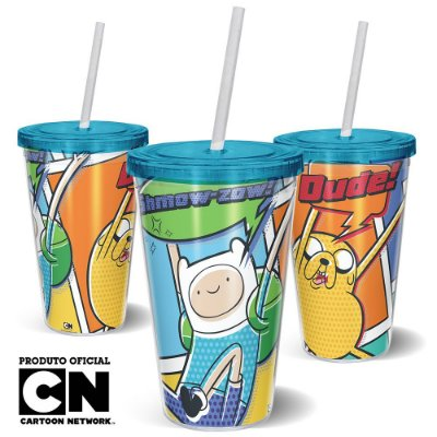 Copo Canudo 600ml Cartoon Network HORA DE AVENTURA HQ Finn e Jake - Beek