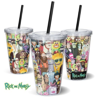 Copo Canudo 600ml Personagens 2 RICK AND MORTY Oficial - Beek