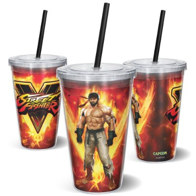 Copo Canudo 600ml STREET FIGHTER RYU ON FIRE - Beek