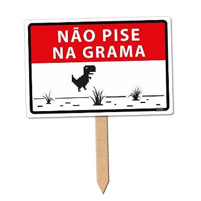 Placa Decorativa 24x16 Não pise na grama Dino - Beek