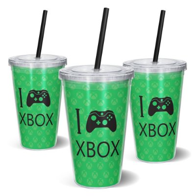 Copo Canudo 600ml - I Play Xbox