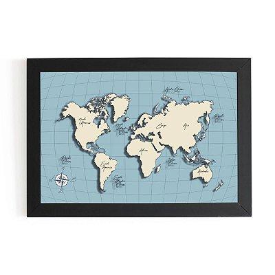 Quadro 3D 30x20 - Mapa Mundi