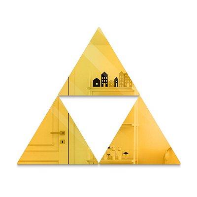 Espelho Decorativo feito em Acrílico Espelhado Dourado (58x24cm) - Triângulos