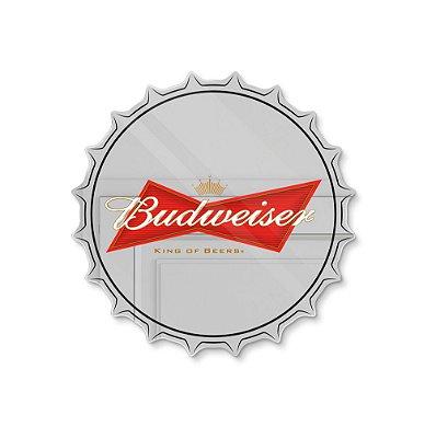 Espelho Decorativo feito em Acrílico Espelhado (35x35cm) - Tampinha Budweiser