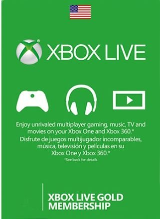 Card Xbox Live Gold US Estados Unidos Cartão Assinatura