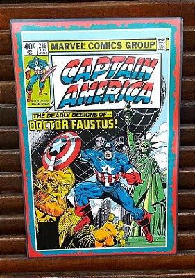Placa decorativa em metal Capitão América Comics
