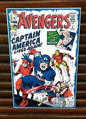 Placa decorativa em metal Capitão América Lives