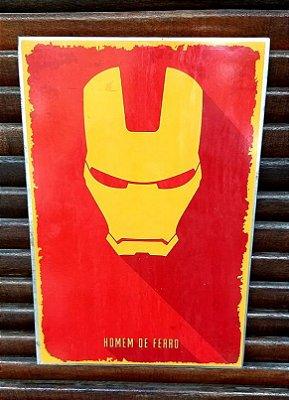 Placa decorativa em metal Homem de Ferro