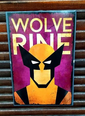 Placa decorativa em metal Wolverine