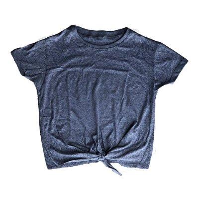 Blusa de laço cinza lisa outlet