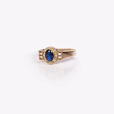 Anel de Formatura com Pedra Azul Sintetica e Zircônias - Ouro 18K