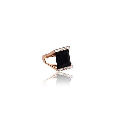 Anel Folheado a Ouro 18K - Pedra Preta com Zircônias
