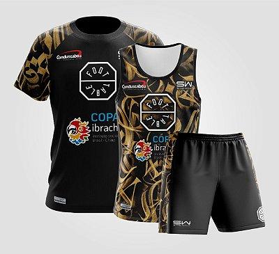 Kit Masculino | Camiseta, Regata e Shorts | Foot Table São Paulo | Preto e Dourado