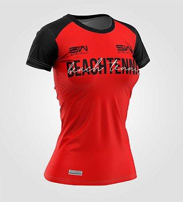Camiseta Feminina   Beach Tennis   Colors   Vermelha