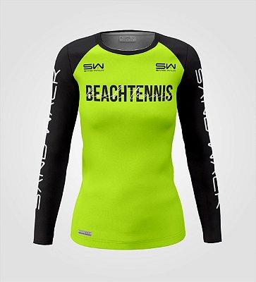 Camisa Manga Longa   Feminina   Beach Tennis   Colors   Flúor