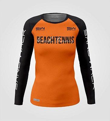 Camisa Manga Longa   Feminina   Beach Tennis   Colors   Laranja