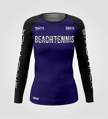 Camisa Manga Longa   Feminina   Beach Tennis   Colors   Marinho
