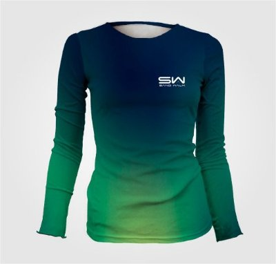 Camisa Térmica Feminina | Manga Longa | Azul e Verde