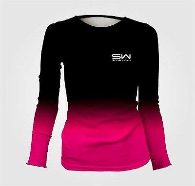 Camisa Térmica Feminina | Manga Longa | Preto e Rosa
