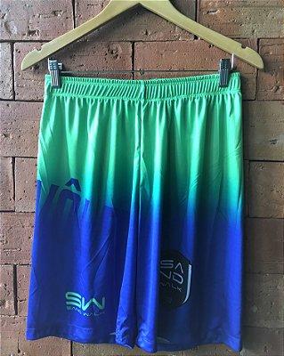 Shorts Masculino | Modelo Treino | Verde e azul | Logo