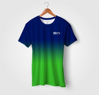Camiseta Beach Tennis | Manga Curta | Azul e Verde