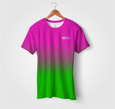 Camiseta Beach Tennis | Manga Curta | Rosa e Verde