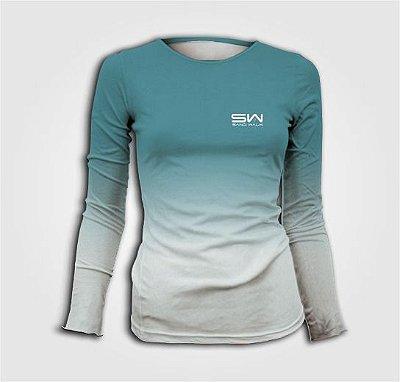 Camisa Térmica Feminina | Manga Longa | Beach Tennis | Azul e Branca