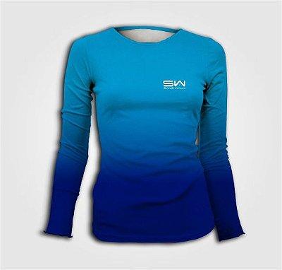 Camisa Térmica Feminina | Manga Longa | Beach Tennis | Azul