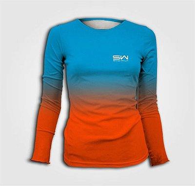Camisa Térmica Feminina | Manga Longa | Beach Tennis | Azul e Laranja