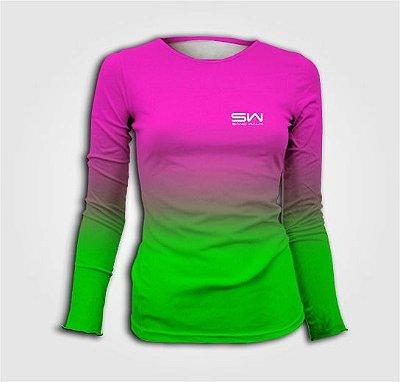 Camisa Térmica Feminina | Manga Longa | Beach Tennis | Rosa e Verde