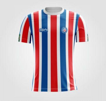Camiseta Masculina | Coleção Manto | Listrada Vermelha e Azul