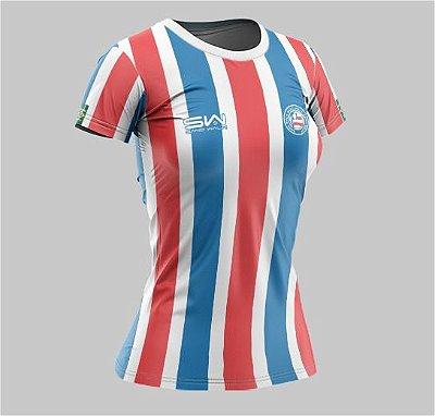 Camiseta Feminina | Coleção Manto | Listrada Vermelha e Azul