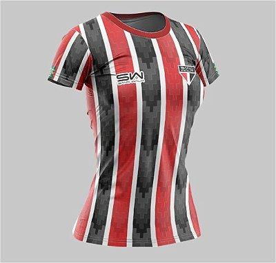 Camiseta Feminina | Coleção Manto | Listrada Preta e Vermelha
