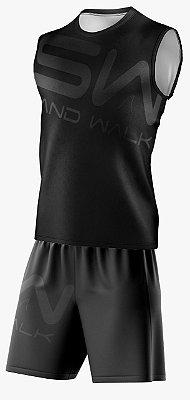 Conjunto Regata e Shorts | Coleção #todosjuntos | Preto