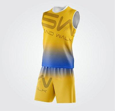 Conjunto Regata e Shorts | Coleção #todosjuntos | Amarelo e Azul