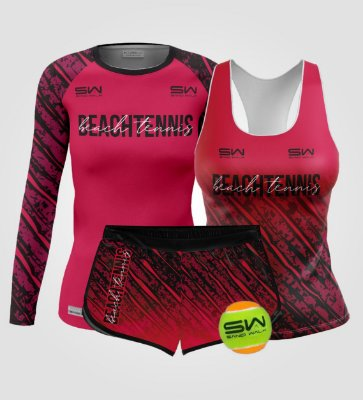Kit Feminino | Beach Tennis | Manga Longa, regata, shorts e bola | Coleção Revés