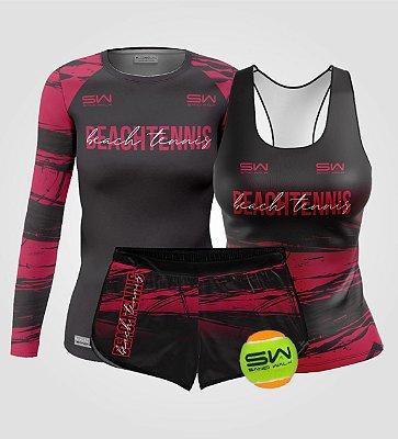 Kit Feminino | Beach Tennis | Manga Longa, regata, shorts e bola | Coleção Smash