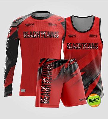 Kit Masculino | Beach Tennis | Manga Longa, regata, bermuda e bola | Coleção Lob